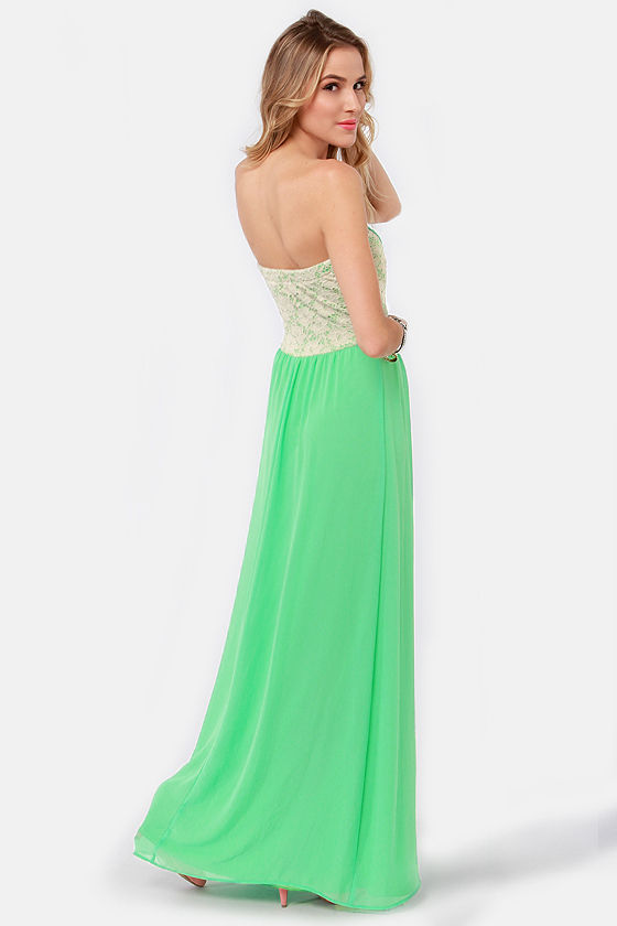 Bringin' Maxi Back Strapless Green Maxi Dress at Lulus.com!