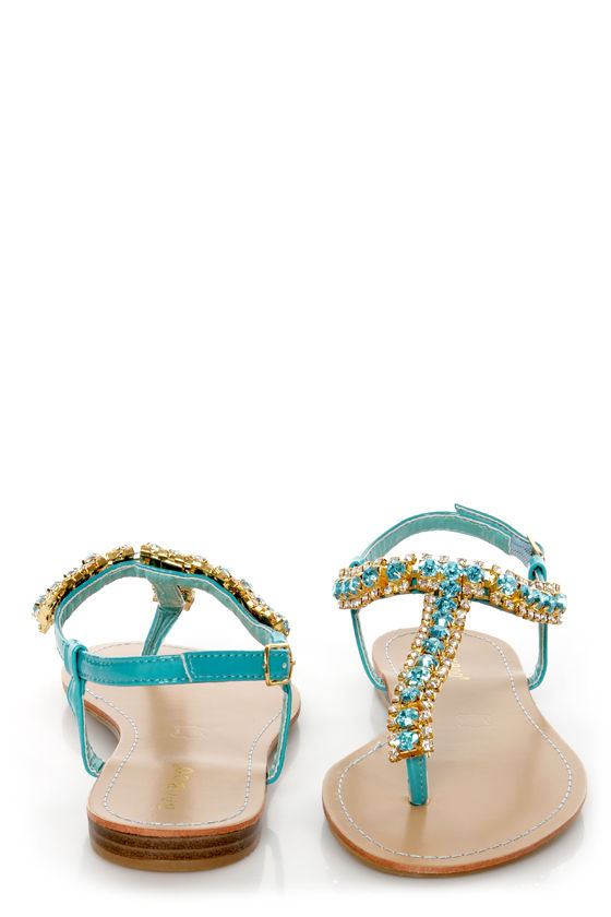 Bamboo Steno 70 Sea Teal Rhinestone T Strap Thong Sandals at Lulus.com!
