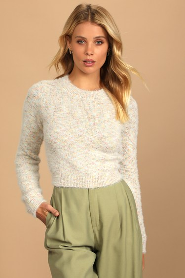 Autumn Skies Cream Multi Fuzzy Knit Sweater
