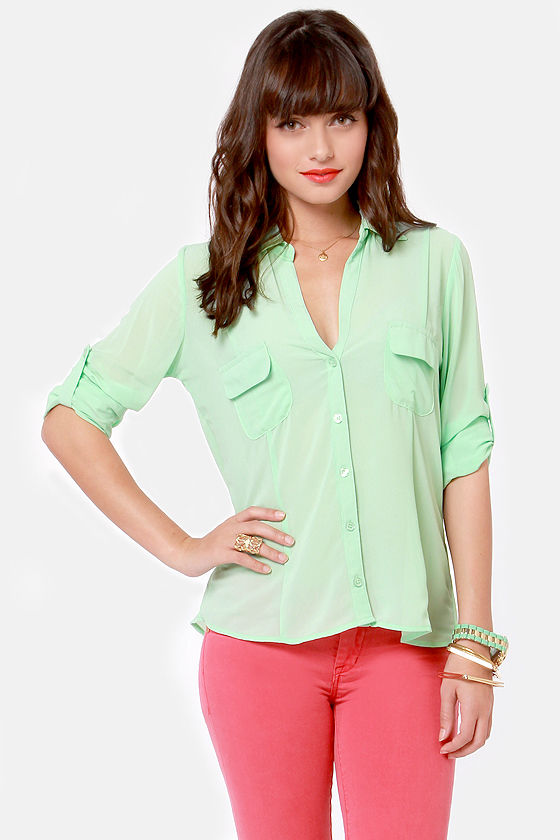 Good In-Vent-tions Mint Green Button-Up Top at Lulus.com!