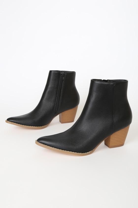 Spirit Black and Brown Pointed Toe Ankle Booties Lulus x Matisse