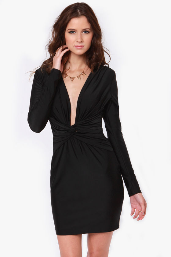 Rubber Ducky Twist of Fate Plunging Black Dress at Lulus.com!
