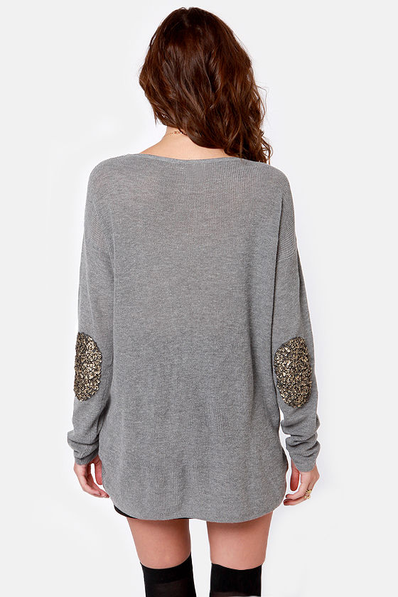 Patch Me if You Can Grey Sequin Sweater at Lulus.com!