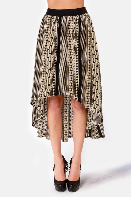 Sacred Geometry Black Tribal Print High-Low Skirt at Lulus.com!