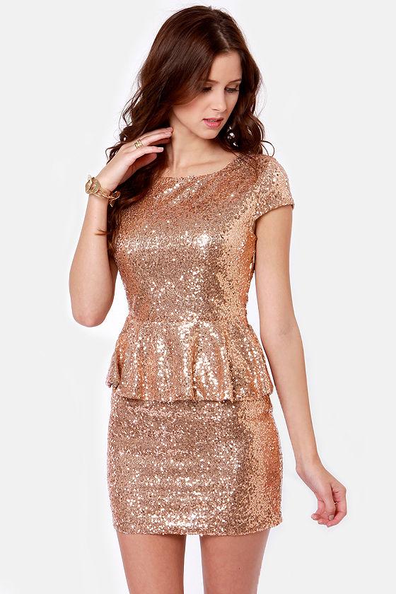 ada2521d44 Lovely Gold Dress - Sequin Dress - Peplum Dress -  57.00