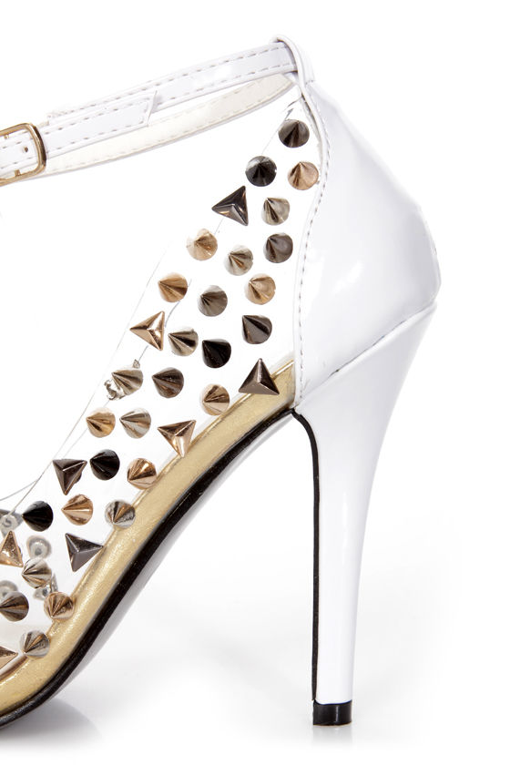 Privileged Beverly White Patent Studded Cap-Toe Pointed Pumps at Lulus.com!