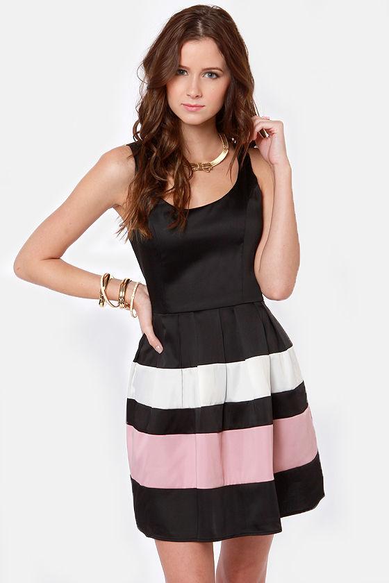 Pretty Black Dress - Skater Dress - Satin Dress - $49.00
