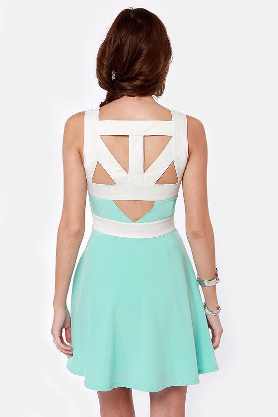 Day Snipper Cutout Mint Blue Dress at Lulus.com!