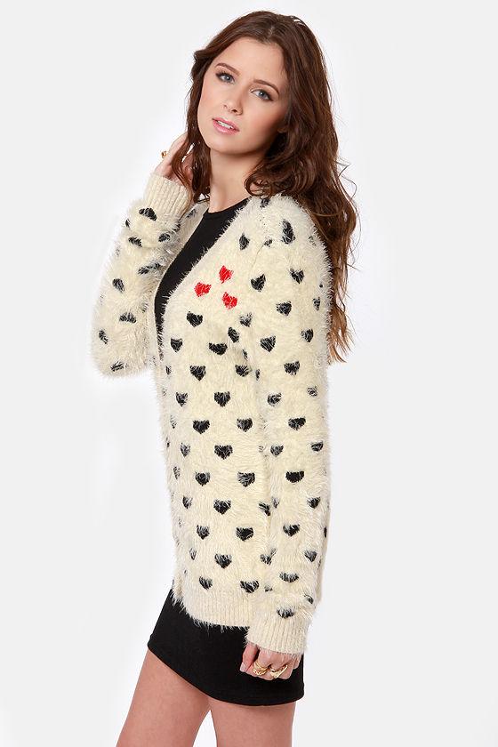 Artsy Heart-sy Cream Cardigan Sweater at Lulus.com!