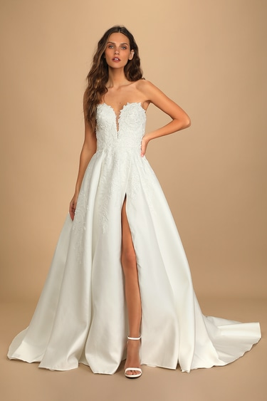Now and Always White Beaded Embroidered Strapless Gown