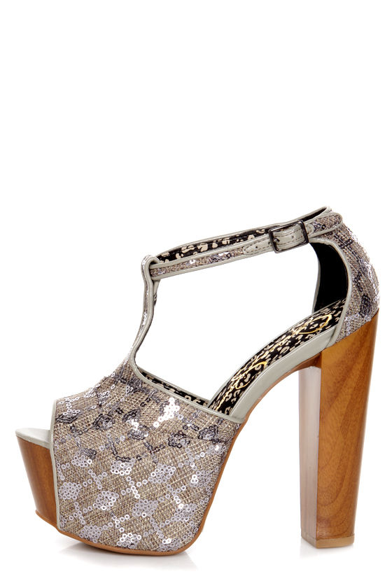 802db1527d4 Jessica Simpson Dany Nude Suede T Strap Glitter Platform HeJessica Simpson  Dany Pewter Woven Sequin Fabric Platform Heels -  99.00