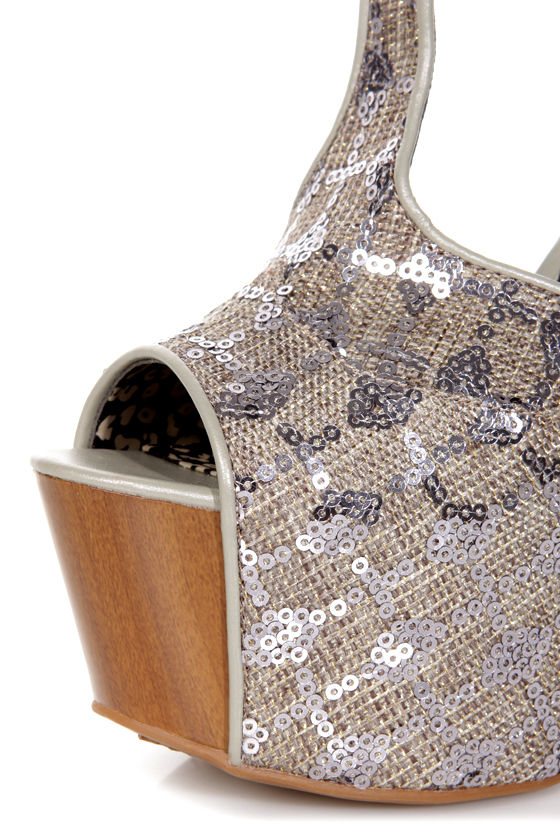 Jessica Simpson Dany Pewter Woven Sequin Fabric Platform Heels at Lulus.com!