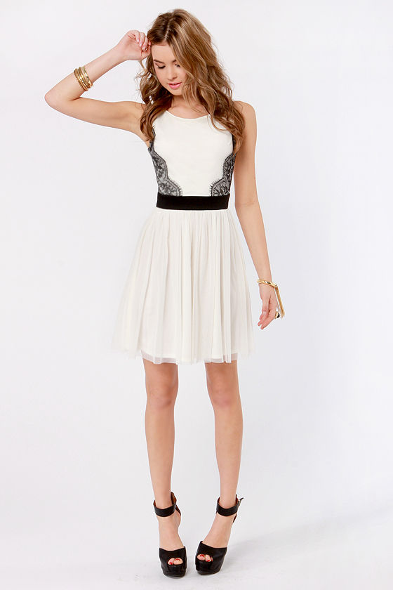 Recital House Rules Ivory Lace Dress at Lulus.com!