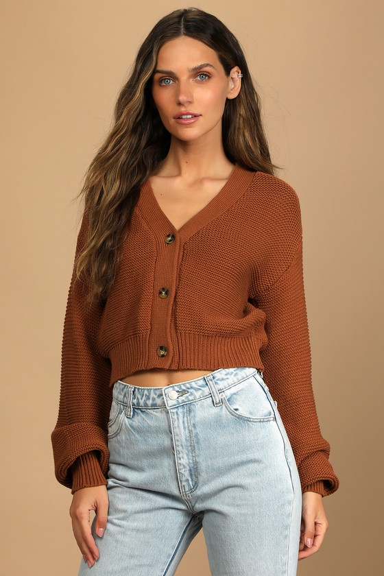 That Cozy Feeling Rust Brown Knit Button-Up Cropped Cardigan Lulus