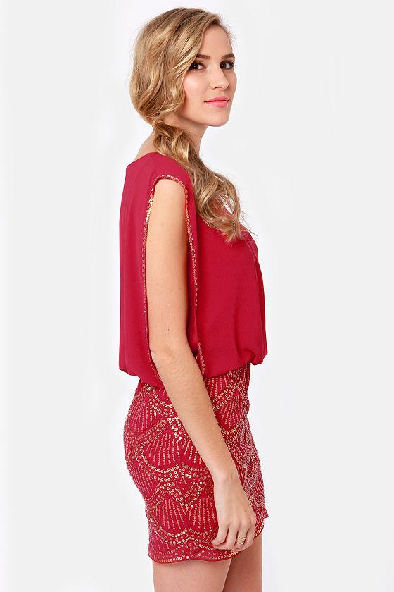 Fancy Red Dress - Sequin Dress - Cocktail Dress - $75.00