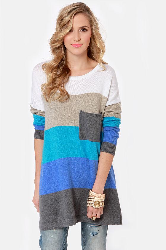 4f4483cb3df Cozy Oversized Sweater - Color Block Sweater - Blue Sweater -  60.00