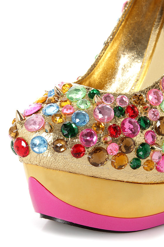 Privileged Beadlicious Gold Bejeweled Heelless Platforms at Lulus.com!