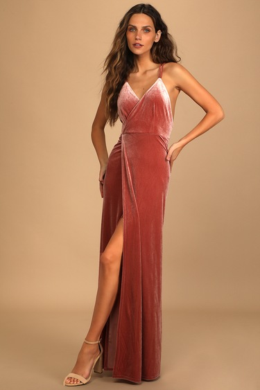 Whimsical Romance Mauve Velvet Faux-Wrap Maxi Dress