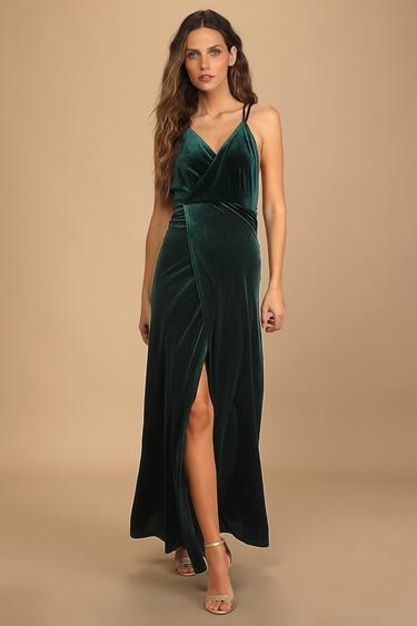Whimsical Romance Emerald Green Velvet Faux-Wrap Maxi Dress