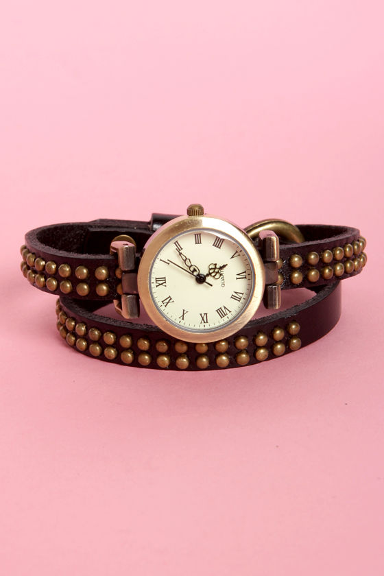 Time Stud Still Black Studded Wraparound Watch at Lulus.com!