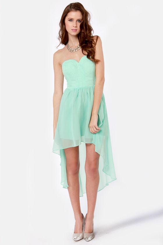 Lovely Strapless Dress Mint Blue Dress High Low Dress
