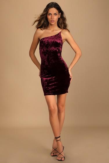 Forever Thriving Burgundy Velvet One-Shoulder Bodycon Dress