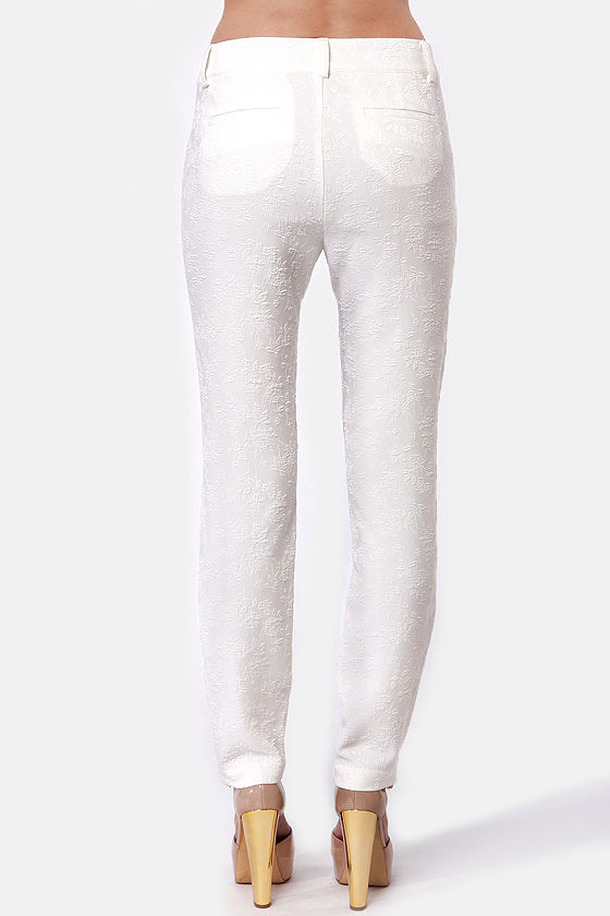 Jacquard Player Ivory Pants at Lulus.com!