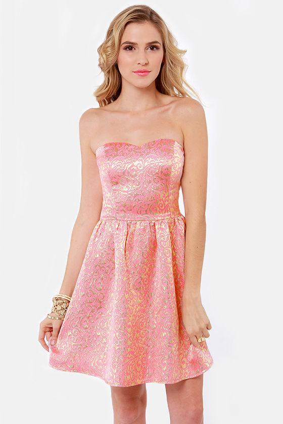 Pretty Brocade Dress - Pink Dress - Party Dress - Gold Dress - $60.00
