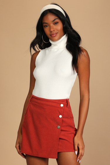 Always a Hit Rusty Rose Corduroy Button-Front Mini Skirt