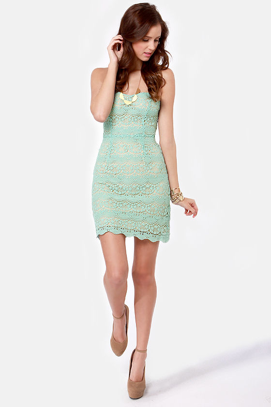 Famous Laced Words Strapless Mint Blue Lace Dress at Lulus.com!