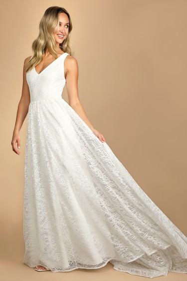 Made a Promise White Lace V-Neck Sleeveless Maxi Dress