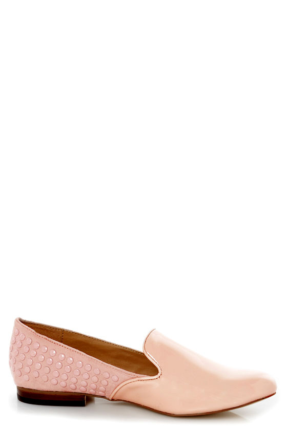 Kelsi Dagger Fabricea Pink Patent Studded Smoking Slipper Flats at Lulus.com!