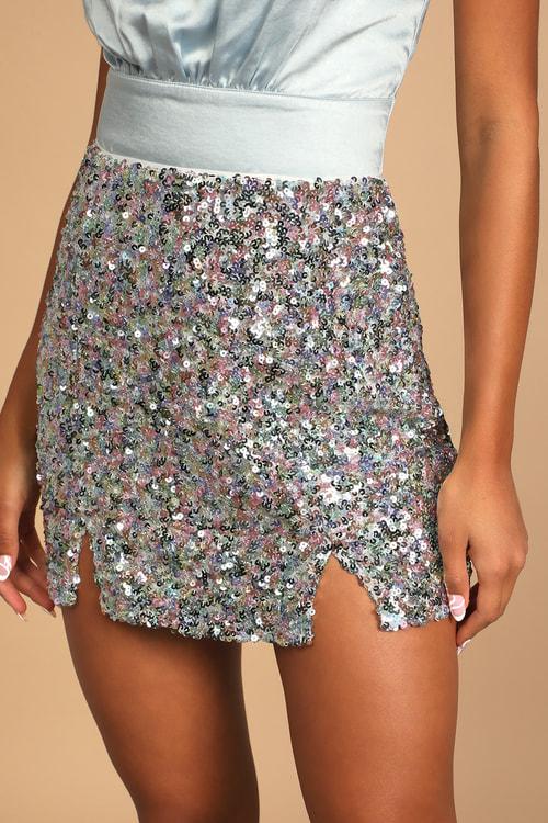 Megawatt Lavender Multi Sequin Mini Skirt
