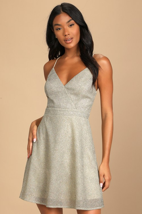 Light of the Party Gold Multi Sparkly Sleeveless Dress