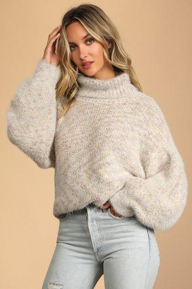 Get Creative Cream Multi Oversized Turtleneck Sweater