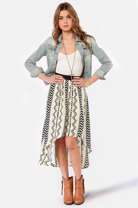 Sacred Geometry Cream Tribal Print High-Low Skirt at Lulus.com!