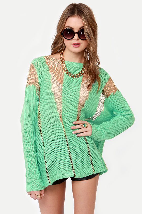 563122a72ba Awesome Shredded Sweater - Mint Green Sweater - Oversized Sweater -  51.00