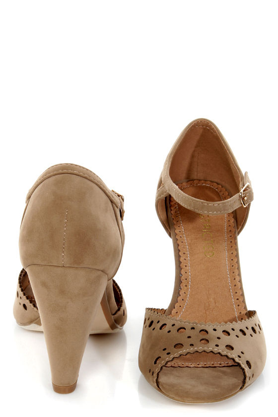 Restricted Denver Taupe Perforated Peep Toe Heels at Lulus.com!