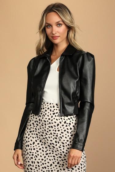 Cool Vibes Forever Black Vegan Leather Puff Shoulder Jacket