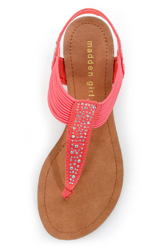 Madden Girl Tanduum Coral Rhinestone Studded Gladiator Sandals at Lulus.com!
