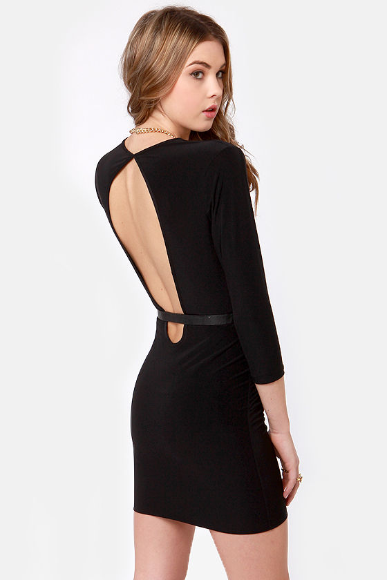 Lock and Keyhole Plunging Black Dress at Lulus.com!