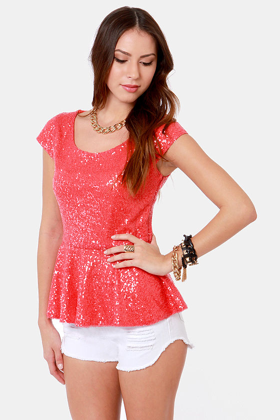 Glitz and Starts Coral Sequin Top at Lulus.com!