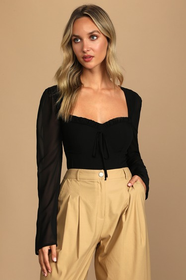 Be Your Date Black Bustier Backless Long Sleeve Bodysuit