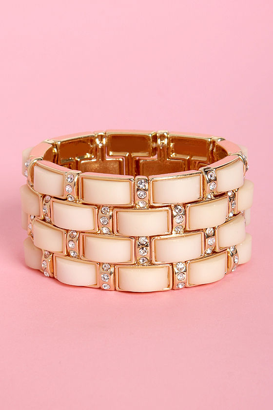 Brick by Brick Cream and Gold Stretch Bracelet at Lulus.com!