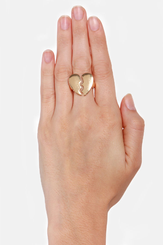 Gimme a Break Gold Broken Heart Ring at Lulus.com!