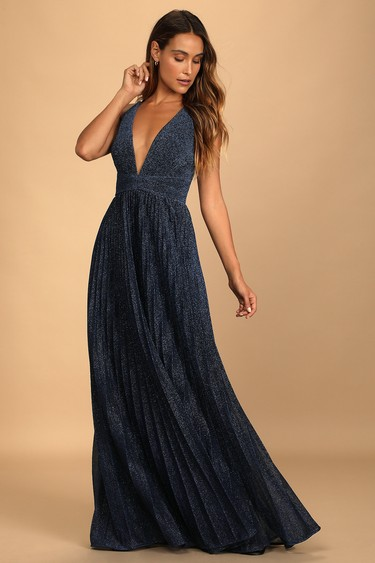Especially Stunning Blue Sparkly Pleated Maxi Dress