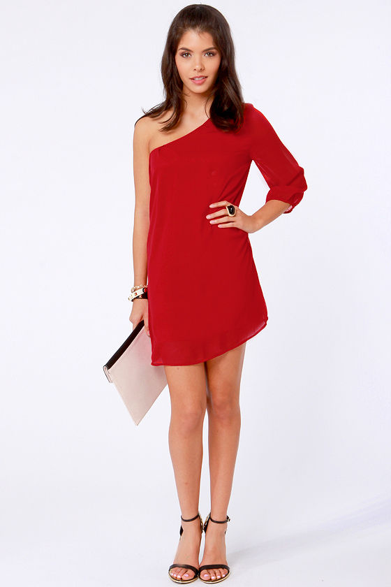 Cute One Shoulder Dress - Red Dress - Shift Dress - $38.00
