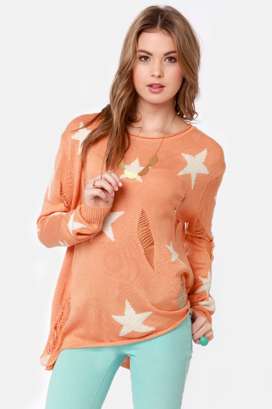Stand and Star Peach Star Print Sweater at Lulus.com!