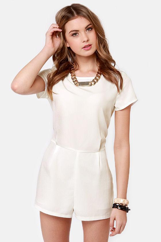 91de2f3b0146 Cute White Romper - Short Sleeve Romper -  44.00