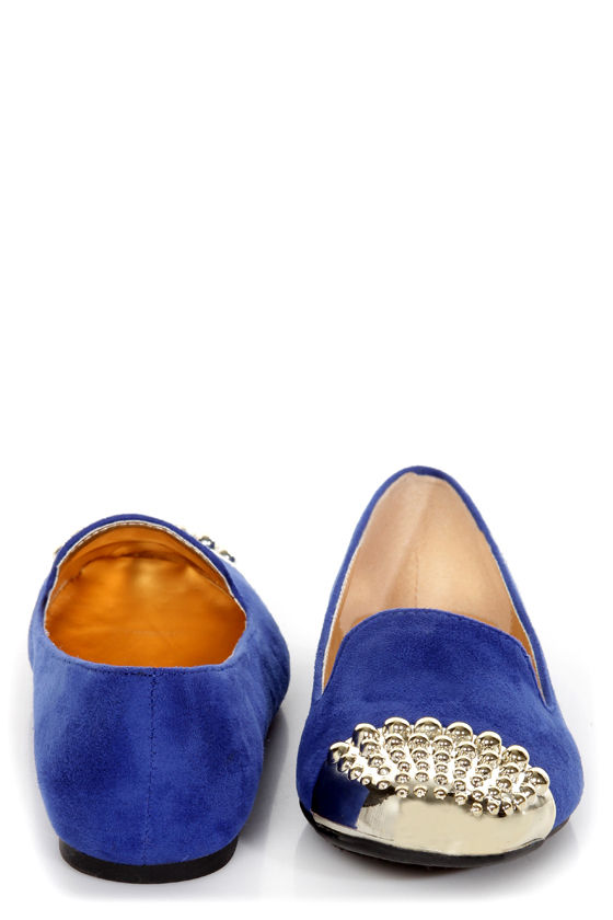 Paprika Evon Twilight Blue Gold Cap-Toe Smoking Slipper Flats at Lulus.com!